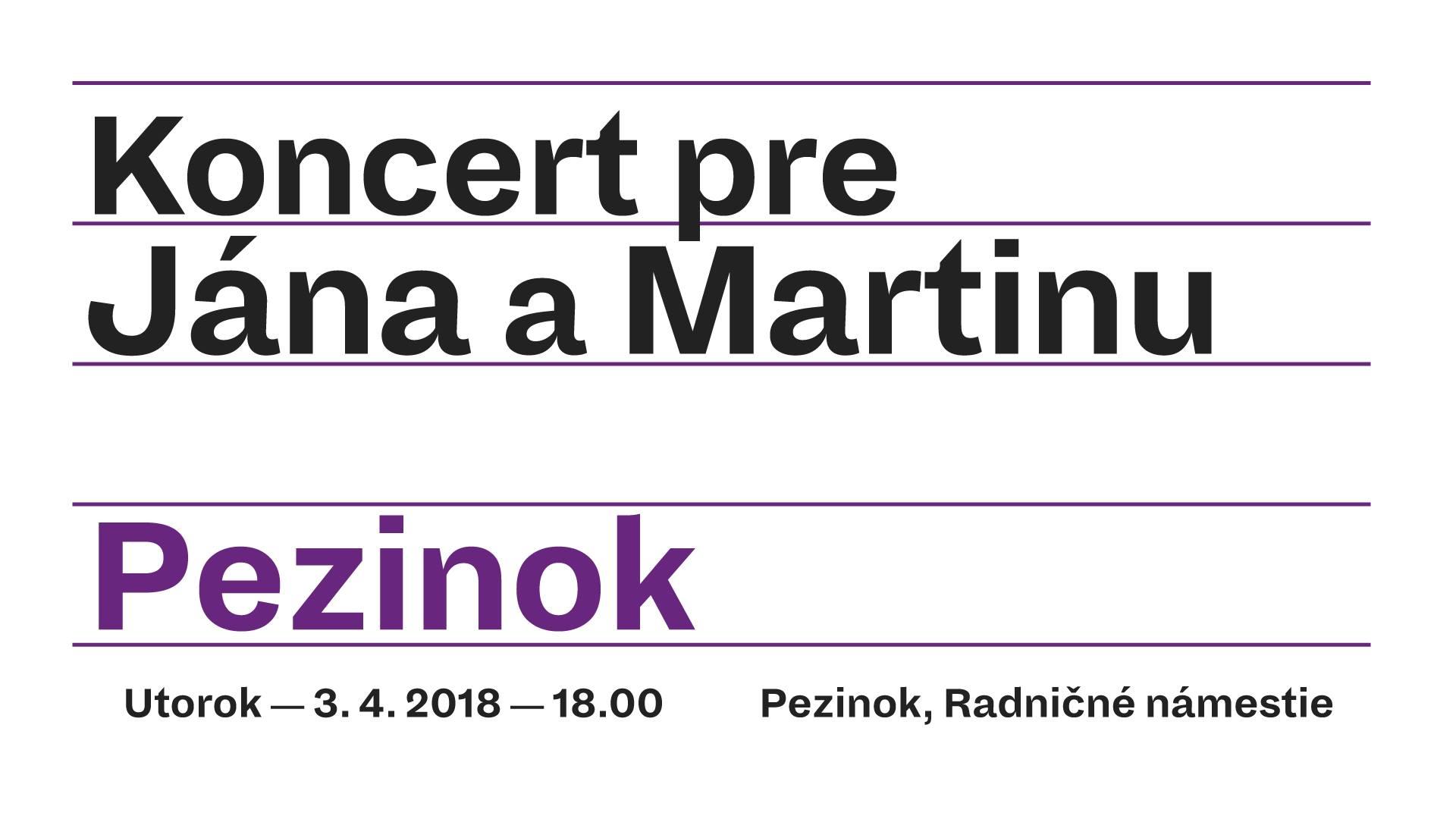 KONCERT PRE JÁNA A MARTINU V PEZINKU – 3.4.2018