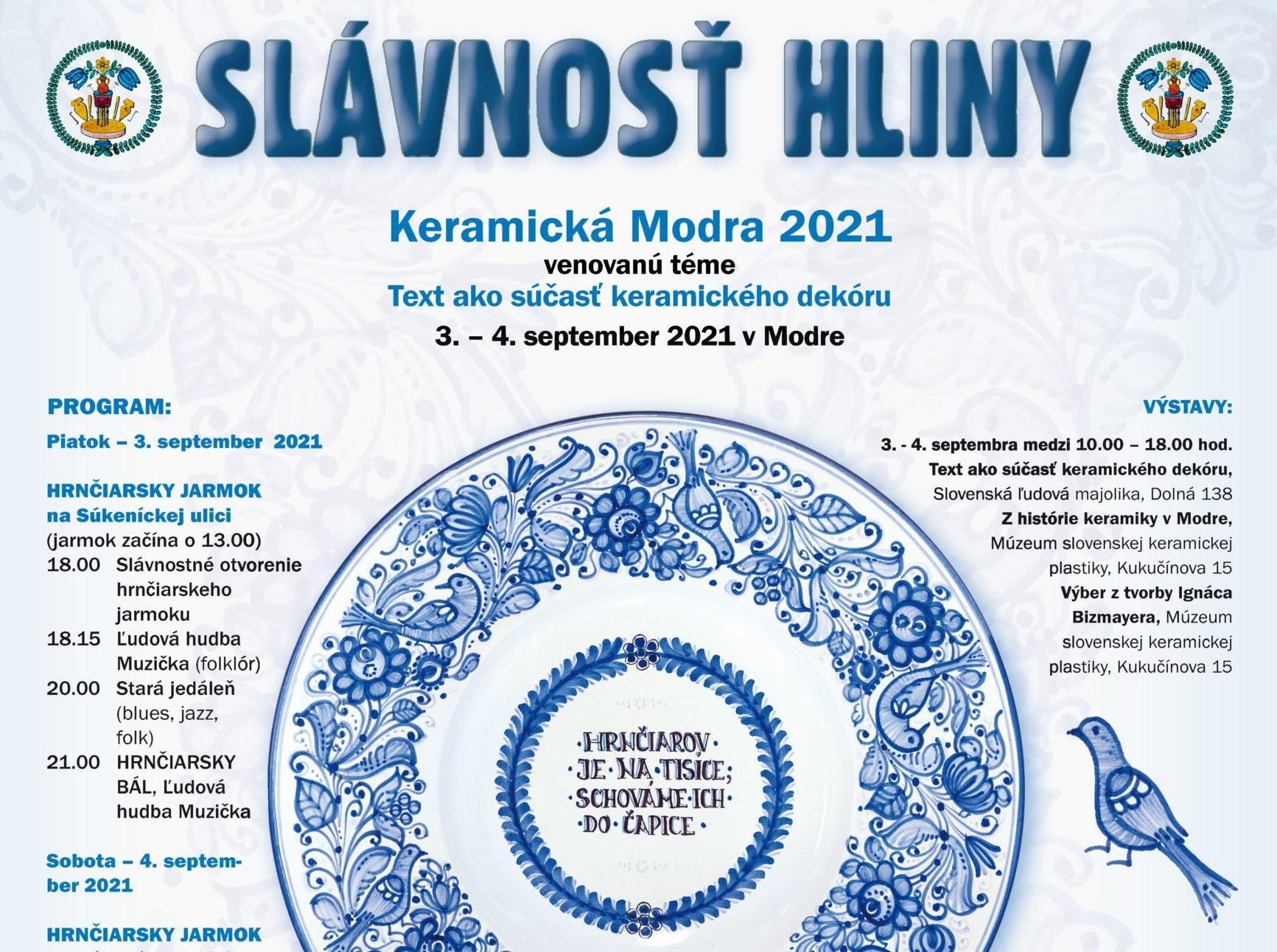 Slávnosti hliny – hráme koncert a Hrnčiarsky bál v Modre – 3.9.2021 – 18:15 a 21:00